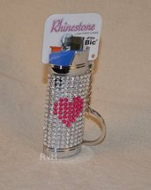 Rhinestone Lighter Cover/Sleeve (for REGULAR BICs) White w/pink heart (R10)