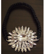 CHICO'S Rhinestone Crystal Starburst Bling Bracelet With Black Stretch S... - $12.99
