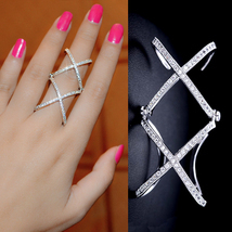 Double Criss Cross Ring, Double X Ring, Unique Ring, Full Finger Ring Op... - $23.97