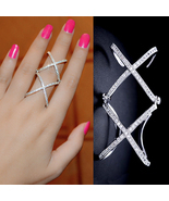 Double Criss Cross Ring, Double X Ring, Unique Ring, Full Finger Ring Op... - $29.94 CAD+
