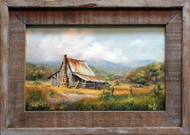 "Original signed oil painting my Texas artist Plautz, ""Old Barn"", 10""x16"" - $200.00"