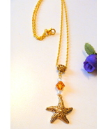Gold Starfish Pendant Necklace with Amber Crystal Bead - $9.99
