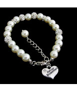 Junior Bridesmaid Bracelet Ivory Pearl Rhinesto... - $13.99