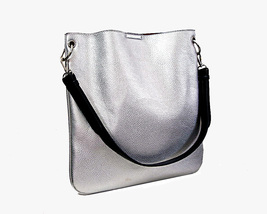 Silver Tote Shoulder Bag Pebbled Leather Look Shopping Tote CarryAll - $21.00