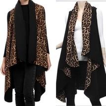 Leopard Animal Print Black Long Vest Cape One Size Sizes 6-14 Reversible... - $28.50
