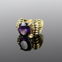 Vintage .925 Sterling Silver Signed UTC Gold Tone Purple Stone Size 4 Ri... - $20.16