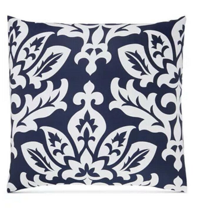 Charter Club Damask Designs White Navy 100% Cotton European Pillow Sham - $23.36