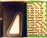 Double Six Standard Dominoes Set of 28-Green Case with White Tiles [Toy]