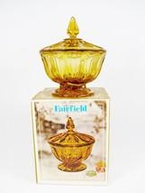 ANCHOR HOCKING Fairfield Amber Art Glass Candy ... - $22.27