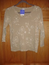 Fresh Produce Top S Sand Dollar Sketched Floral Ruffle Collar NWT - $18.29