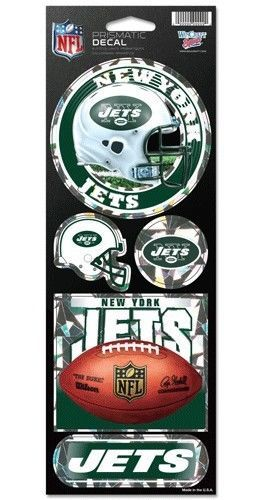 NEW YORK JETS PRISMATIC HOLOGRAPH STICKER DECAL SHEET OF 5 NFL FOOTBALL