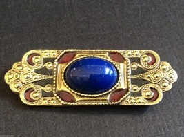 Art Deco Style gold Tone Metal Cobalt blue Lapis faux oval stone Pin Bro... - $34.65