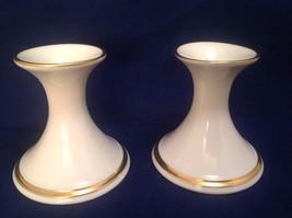 "LENOX ""Carlton"" pattern Candle Sticks, Ivory Porcelain with 24k Gold Trim - $15.99"