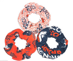 3 Denver Broncos Orange Blue Fabric Hair Scrunchie Scrunchies by Sherry NFL - $21.95