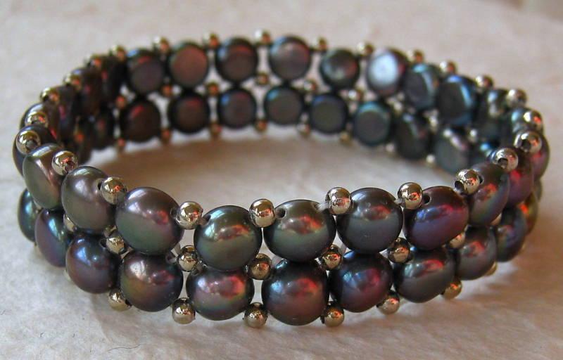 Handmade Two-Strand Cultured Pearl Stretch Bracelet