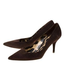 Dolce and Gabbana Brown Suede Stiletto 85mm Buckle Pumps  - $495.00