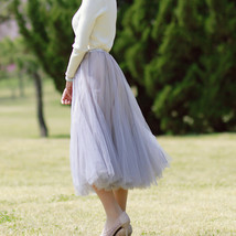 Gray Layered Tulle Skirt Outfit High Waisted Midi Tulle Skirt Party Tulle Skirt image 5