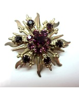 Vintage  Purple Rhinestone Starburst Sun Gold Tone Metal Brooch - $12.99