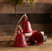Melrose International Three Red Bells on Rope, Set of Two
