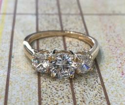 1.90 Carat Created Diamond 14K White Yellow Or Rose Gold 3 Stone Engagem... - $275.00