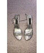 David Aaron Gold Pewter Metallic Leather Strappy Open Toe Heels Sandals ... - $8.99
