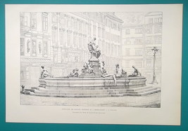 VIENNA Austria Donnenbrunnen Fountain  - 1876 Antique Print - $16.20