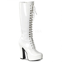 "PLEASER Sexy White Patent Platform Lace Up 5"" Chunky Heel Gogo Dancer Knee Boots - $57.95"