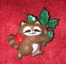 Vintage 1986 Hallmark Cards Holiday Raccoon Collectible Brooch Pin Gift - $4.80