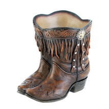 Western Boot Planter, Outdoor Garden Planters, Balcony Resin Cowboy Boot... - $39.08