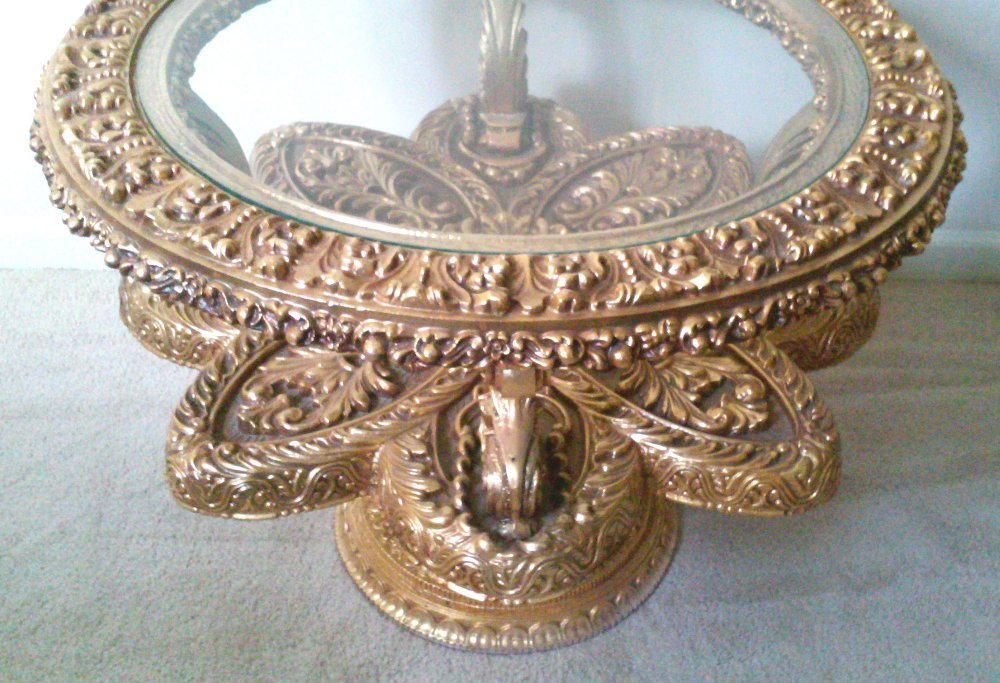 Vintage Venetian Baroque Round Glass Top End Gilded Tables-A Pair