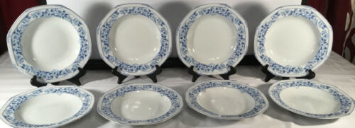 Primary image for Christopher Stuart lot of 8 rimmed soup bowls Dresden Blue 1993