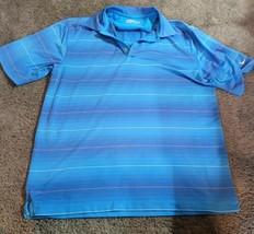Nike Golf Fit Dry Polo Shirt Blue Stripe Mens Medium - $23.95