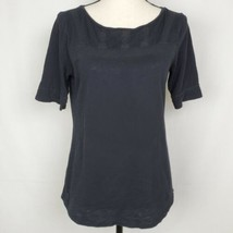 LOFT Womens Tshirt S Black Lace Trimmed Burnout Semi Sheer Short Sleeve ... - $19.99