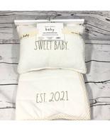Rae Dunn Baby 'Sweet Baby Est. 2021' Quilt Blanket & Pillow Set- Tan & W... - $29.69