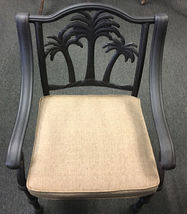 Cast aluminum palm tree chairs set of 8 patio dining outdoor backyard furniture image 4