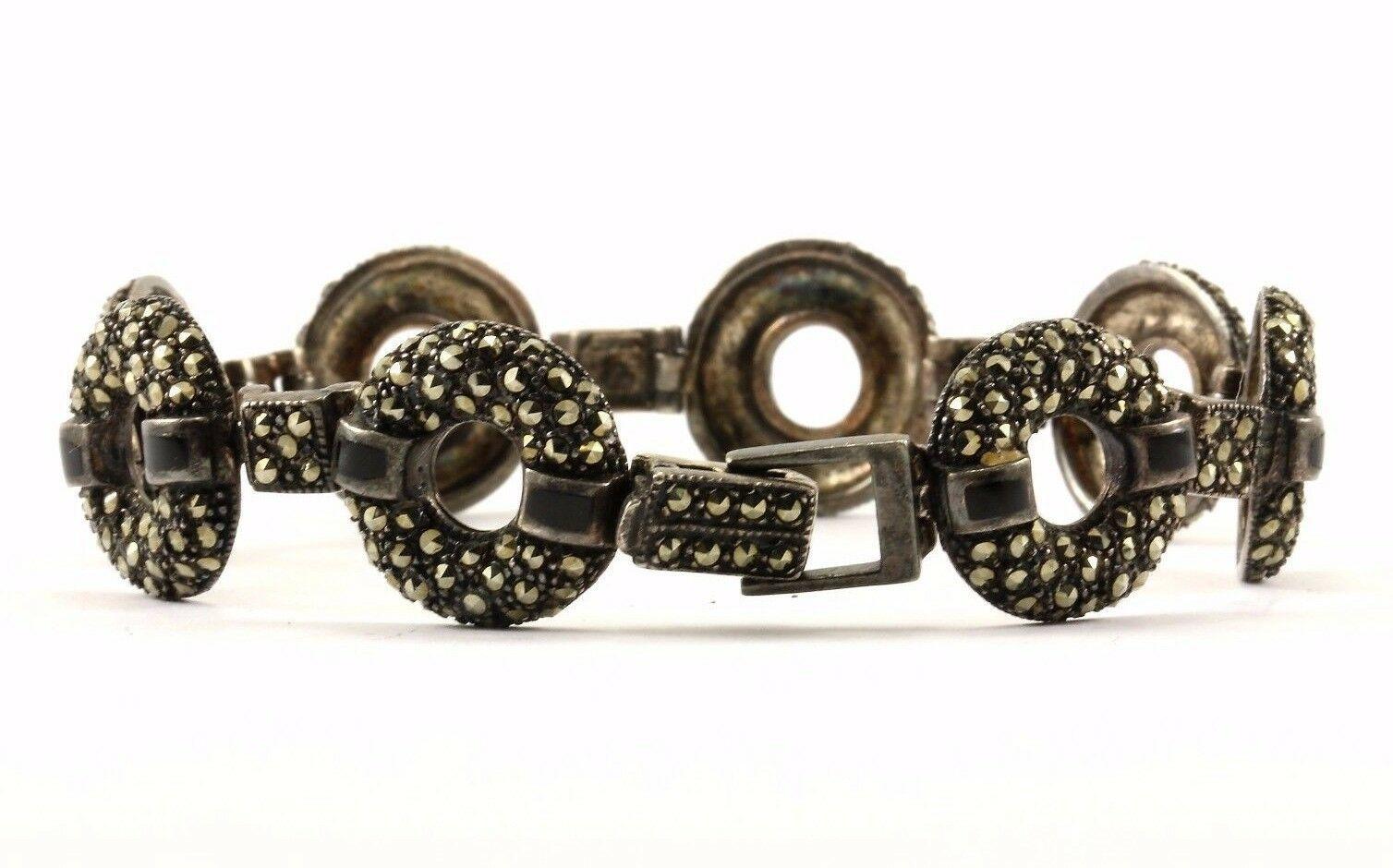 Vintage Round Shape Marcasite Link Bracelet 925 Sterling BR 2047-E