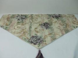 "1 Croscill Lined Window Valance Pastels Rose Plum Sage Scroll Flowers 4""... - $14.80"
