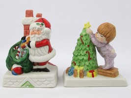 Lot of 2 Russ Berrie and Co. Santa Claus and Boy Decorating Christmas Tree - $5.93