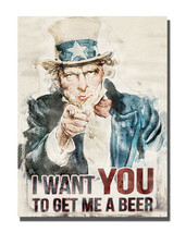 Uncle Sam Recruiting Poster Get Me A Beer Art Design 16x20 Aluminum Wall... - $59.35