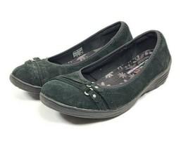 Skechers Wedge Heel Loafers Women's Sz 10 Black Suede Leather Uppers (tu40ep) - $33.66