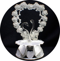 Crystal Swans Wedding Cake Topper Romantic nature top ornament Birds glass - $29.21
