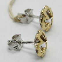 18K WHITE YELLOW GOLD FOUR LEAF CLOVER DOUBLE EARRINGS, FINELY WORKED ITALY MADE image 2