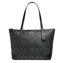 Coach Signature Zip Tote Shoulder Handbag (SV/Smoke PVC) - $163.50