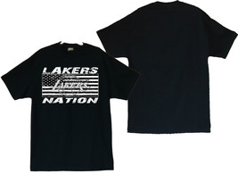 Lakers Nation With Distressed US Flag Image Men's Black T-Shirt Size(S t... - $20.78+