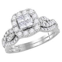 14kt White Gold Princess Diamond Bridal Wedding Engagement Ring Set 1.00 Ctw - $1,098.00