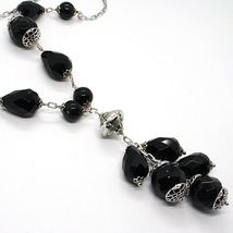925 silver necklace, black onyx round, drop, pendant cluster image 3