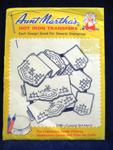Vintage Aunt Marthas Colonial Girl Pillow Doily  Hot Iron Transfer Uncut - $7.66