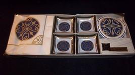 Blue Gold Vintage Glass Craft Hostess Social Se... - $23.75