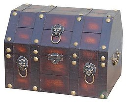 Antique Pirate Treasure Chest/Box with Lion Rings - $54.44