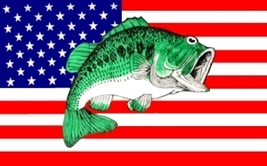 BASS AMERICAN FLAG 3'x5' Fish Fishing flag cloth poster sign Flag - $15.99